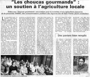 AMAP Les Choucas Gourmand dans la Press 2010